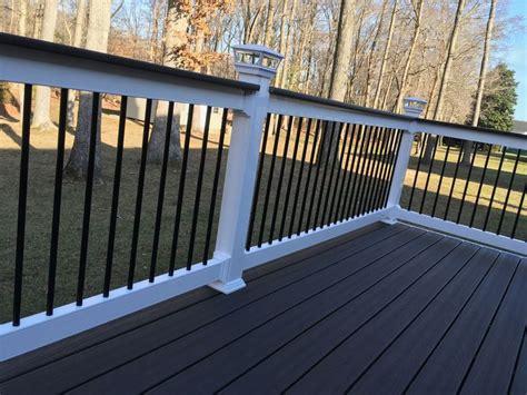 deck railings trex deck composite deck solar post cap lights shoreline vinyl systems