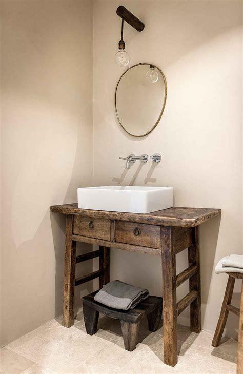 console de salle de bain en orme brut ancien poland for me lab