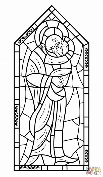 Stained Glass Jesus Mary Mother Coloring Pages
