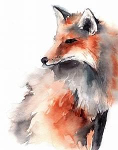 Fox Watercolor Animal Art Print from Original Watercolour ...