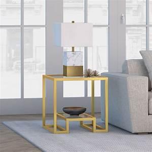 Evelyn, U0026zoe, Contemporary, Side, Table, With, Glass, Top, And, Shelf, -, Walmart, Com