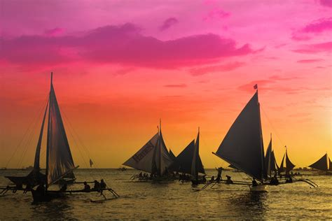 sunset sailing  boracay philippines ogq backgrounds hd