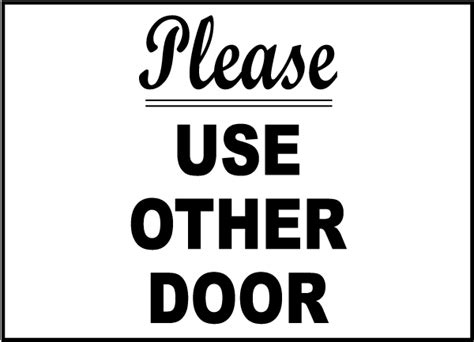 use other door sign use other door label g2012 by safetysign
