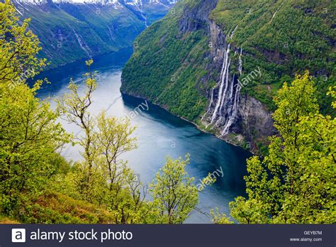 Seven Sisters Waterfall In Geiranger Fjord Norway View