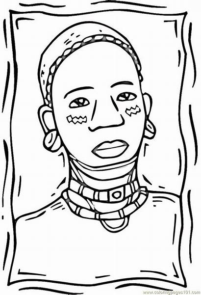 Coloring African Woman Pages Africa American Afro