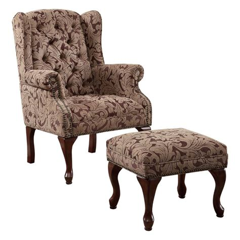 fabric chair with ottoman coaster queen anne button tufted wing accent chair with
