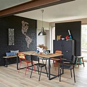 chaise d39ecole noire pour deco industrielle With deco cuisine avec chaise noir de salle a manger