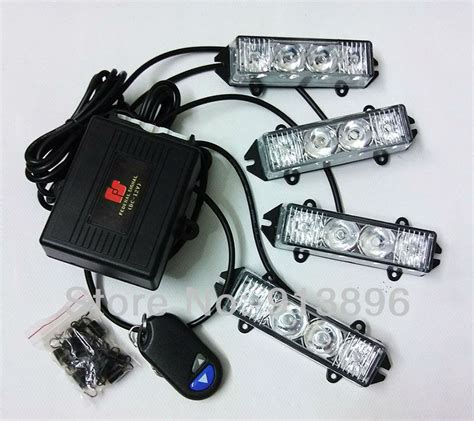 blue car 4 x 4 led strobe light 12volt car truck led