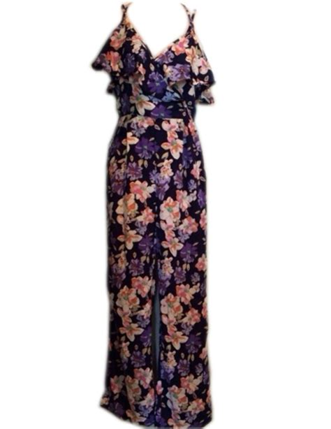 1378 Floral Silky Jumpsuit xtaren purple floral sleeveless silky romper jumpsuit s ebay
