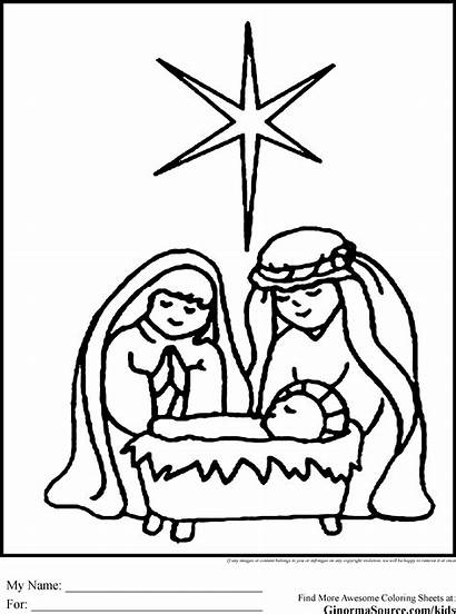 Nativity Coloring Pages Scene Christmas Drawing Simple