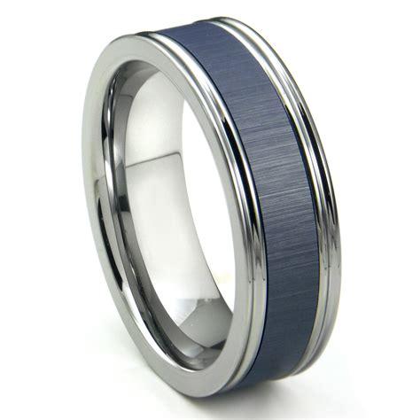 Tungsten Carbide Blue Ceramic Inlay Wedding Band Ring W