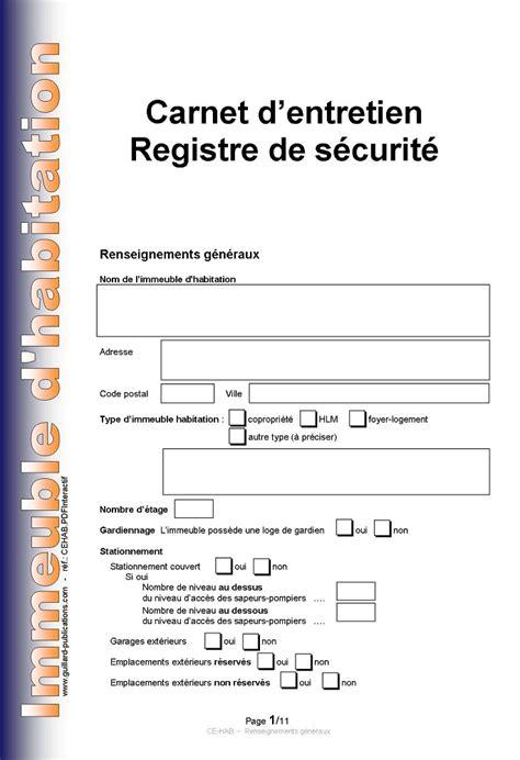 carnet d entretien carnet d entretien registre de securite pour immeuble d habitation en pdf interactif
