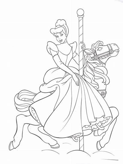 Coloring Disney Cinderella Walt Princess Horse Disneyland
