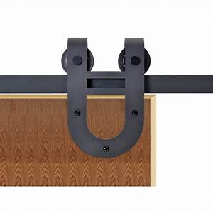 calhome 72 in matte black rustic horseshoe barn style With 72 barn door hardware