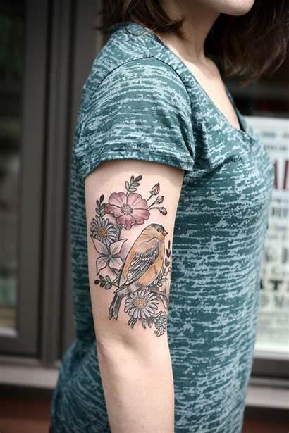 Tattoo Bird Skin Wildflower Kirsten Holliday Gardens