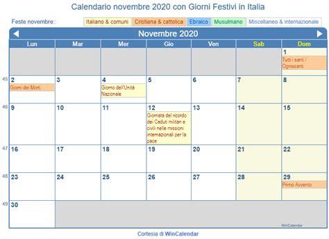 calendario da stampare novembre