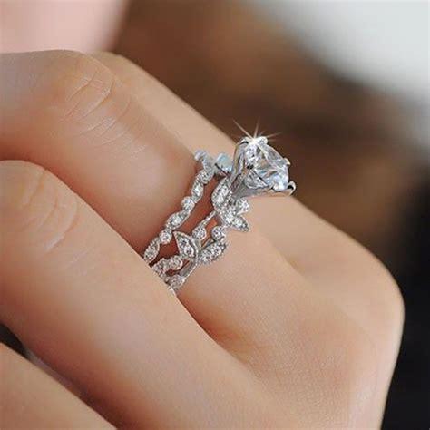 wedding ring connectors unique leaf design white wedding engagement ring 9939