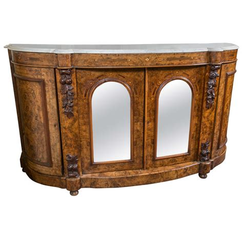 credenza for sale marble top and burl walnut renaissance revival credenza