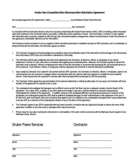 vendor  compete agreement template   word