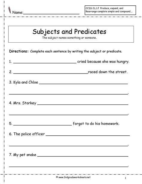 second grade subject and predicate game - Google Search