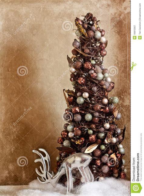 vintage reindeer  tree stock image image  single