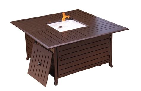 Gas Pit Table With Lid by Square Cast Aluminum Firepit With Lid