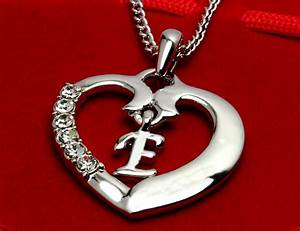 initial necklace letter e 18k white gold plated With letter e necklace