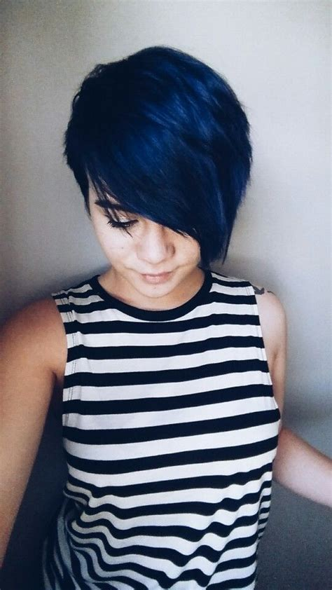 Blue Hair Pixie Cut Cutandcolour Pinterest Pixie Cut