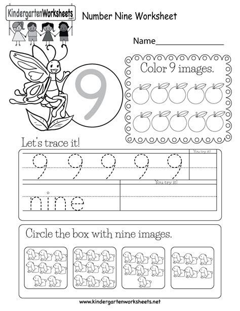 Number Nine Worksheet  Free Kindergarten Math Worksheet For Kids