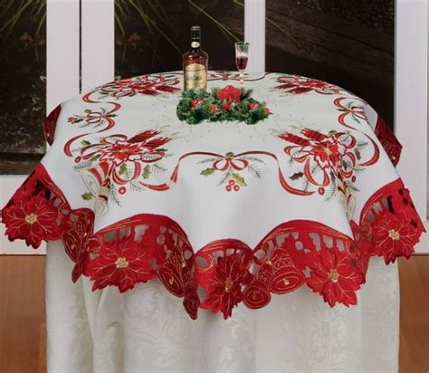 christmas embroidered poinsettia candle bell tablecloth