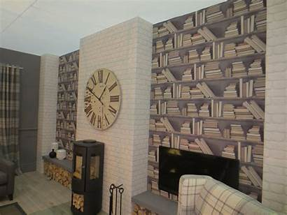 Wall Living Feature Bookcase Library Fireplace Bookcases