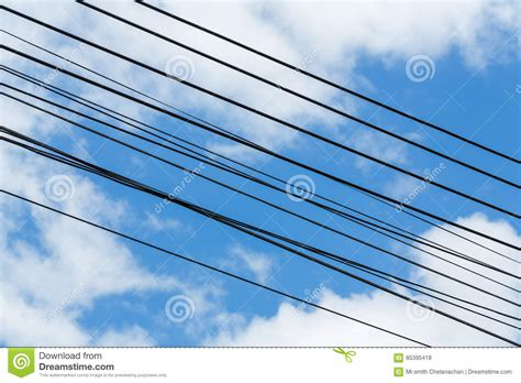 electric wire cable on blue sky royalty free stock image