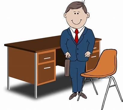 Teacher Desk Chair Between Manager Clipart Complaint