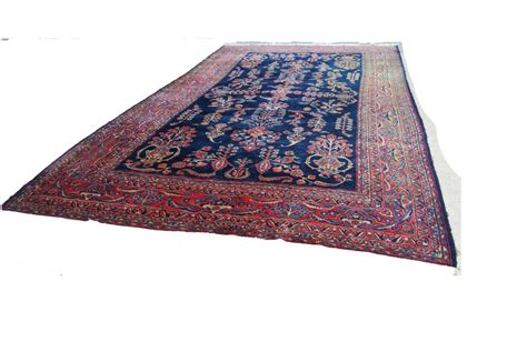 antique persian hand knotted sarouk blue wool area rug