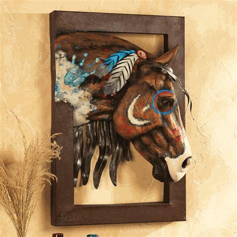 Painted Warrior Horse 3 D Wall Sculpture