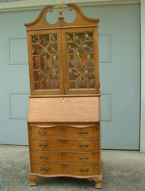 Writing Desk For Sale by Vintage Secretary Desk Hutch China Curved Glass Serpentine