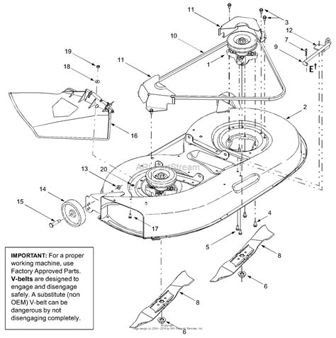 troy bilt pony deck belt diagram troy bilt 13an689g766 pony 2004 parts diagram for deck
