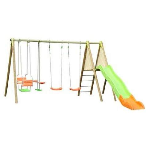 balancoire portique en bois amca 2 30 m avec toboggan et 4 agr 232 s achat vente balan 231 oire