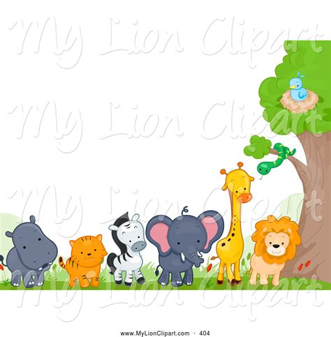 Baby Jungle Animals Wallpaper Border - jungle animals wall border clipart