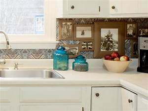 7 budget backsplash projects diy kitchen design ideas With kitchen cabinets lowes with fabric covered canvas wall art