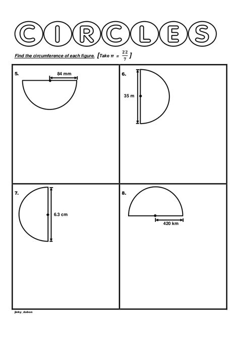 year 6 circumference of semicircles worksheet