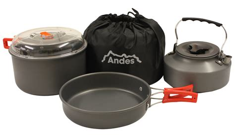 camping pots pans cookware kettle cooking cook portable aluminium anodised kitchen andes hover enlarge