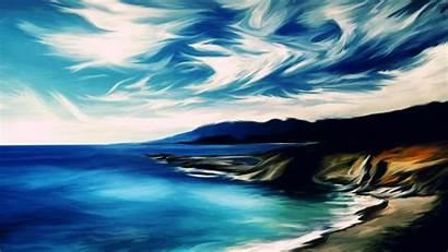 Painting Wallpapers Oil Desktop Paintings Pc Beach