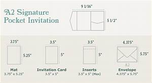 A2 signature pocket invitation sizing print dimensions for Wedding invitation normal size
