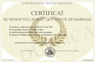 voeux de mariage certificat du renouvellement des voeux de mariage
