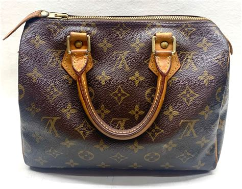 authentic louis vuitton handbag speedy  monogram lv bag zipper purse patina  good