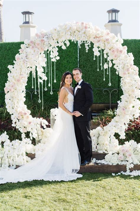 Unique Pink And White Flower Wedding Ceremony Chuppah