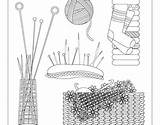 Behance Knitting Needles Needlework Coloring Basket sketch template