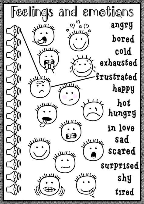 feelings  emotions listening interactive worksheet