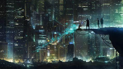 science fiction artwork silhouette skyscraper city